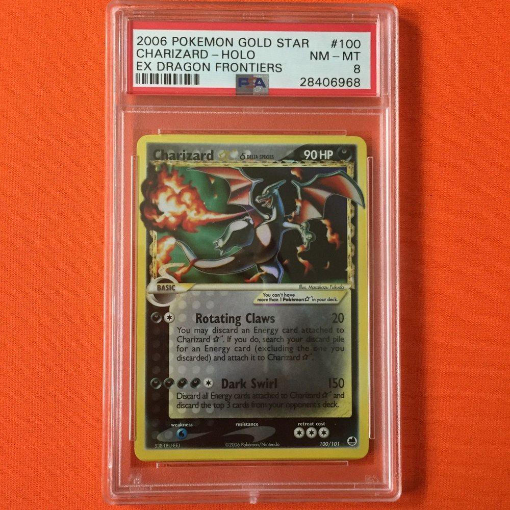 PSA 8 Charizard Gold Star Dragon Frontiers 100/101 Pokemon Card Shining,  Crystal