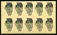 SRS IL W181 1951 4 oz. olive green black pane of 10, mint, VF