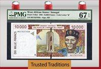 10,000 Francs 1996 West African States/senegal Pmg 67 Epq Superb Gem