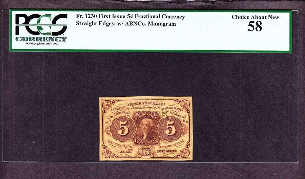 US 5c Fractional Currency 1st Issue W ABC Monogram FR 1