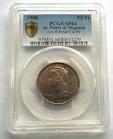 Saint Pierre Miquelon 1948 PCGS SP64 2 Francs Essai Coin,Rare