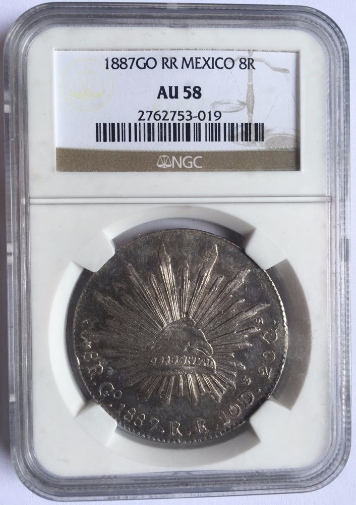8 Reales Silver Coin NGC AU58 Click To Enlarge
