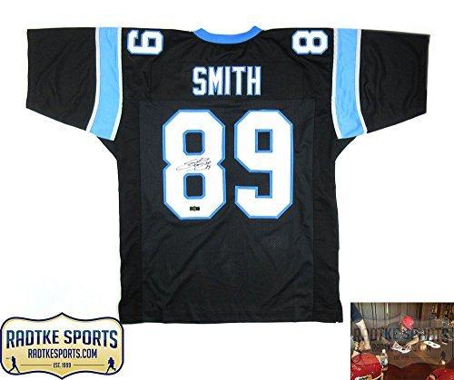 Steve Smith Sr Autographed/Signed Carolina Panthers Custom Black Jersey