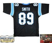 best service 0c9ea 90b81 Steve Smith Sr Autographed/Signed Carolina Panthers Custom Black Jersey