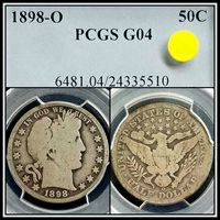 Better Date 1898-O Silver 50c Barber Half Dollar PCGS G04 Good Vintage Classic