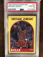 1989-1990 HOOPS SUPERSTARS BASKETBALL # 12 MICHAEL JORDAN PSA 10 GEM MT