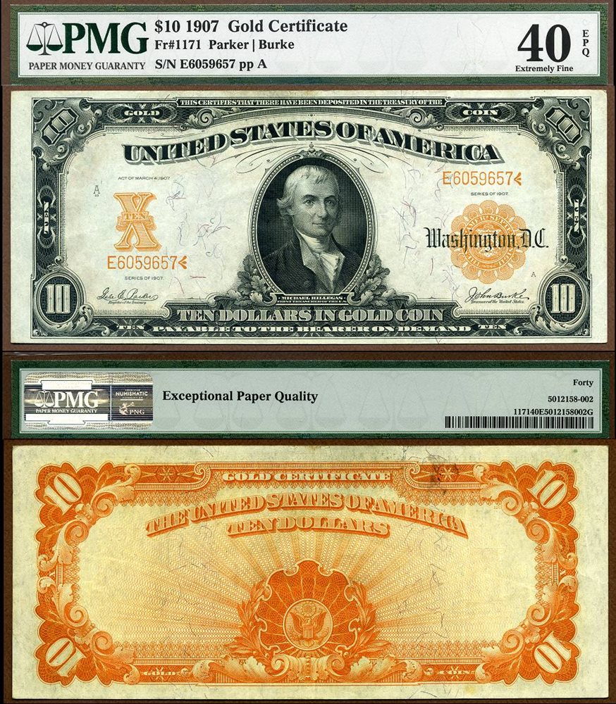 Us Currency 1907 10 Gold Certificate Fr 1171