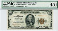1890-I (IA Block), $100 FRBN Minneapolis, 1929