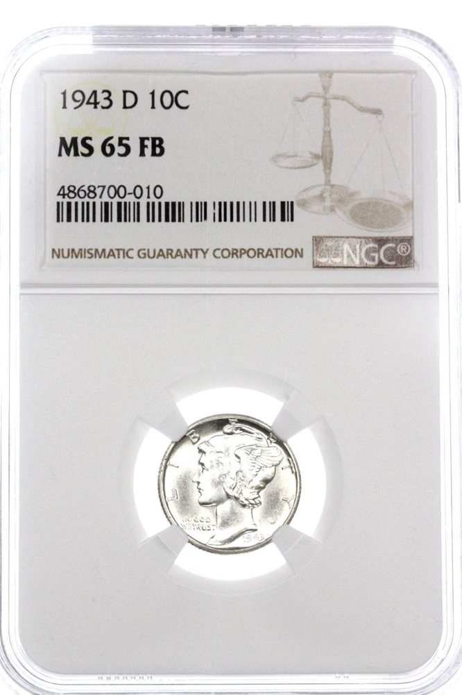 1943 D Mercury Dime certified MS 65 FB by NGC Full Bands!