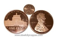 Jumbo Lincoln Bicentennial 2009 Copper Round - DC * .999 Fine Copper Bullion Coin.* 1 Troy Ounce.* Large Lincoln Bicentennial Replica.* DC Image on Reverse.* No artificial coatings.(+)Zoom