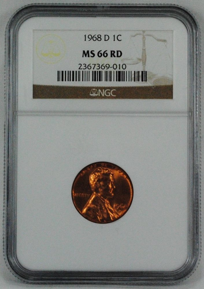 1968 D 1c Lincoln Memorial Penny NGC MS 66 RD Coin, MS66RD