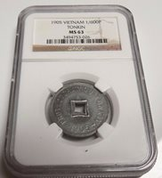VIETNAM 1905 1/600P Piastre TONKIN NGC MS63 MS 63 Certified Colonial Slab Coin