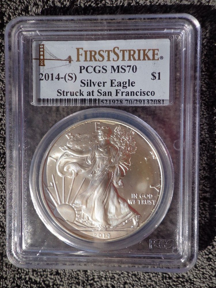 $1 American Silver Eagle Dollar 1oz PCGS MS69 Struck at Sanfrancisco S 2014