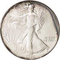 United States, Dollar, 1992, U.S. Mint, Philadelphia, MS(65-70), Silver, KM:273