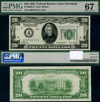FR. 2050 D $20 1928 Federal Reserve Note Cleveland D-A Block Superb PMG 67EPQ