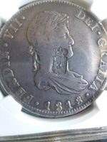 1818 8 reales PORTUGAL COUNTERSTAMP on Mexico coin, certified scarce