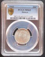 1943 Malaya 20 C , PCGS MS 63 , nice silver coin // 09