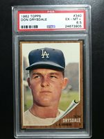 1962 Topps Baseball Cards #340, Don Drysdale, PSA 6.5 Set Break, Nice!!!