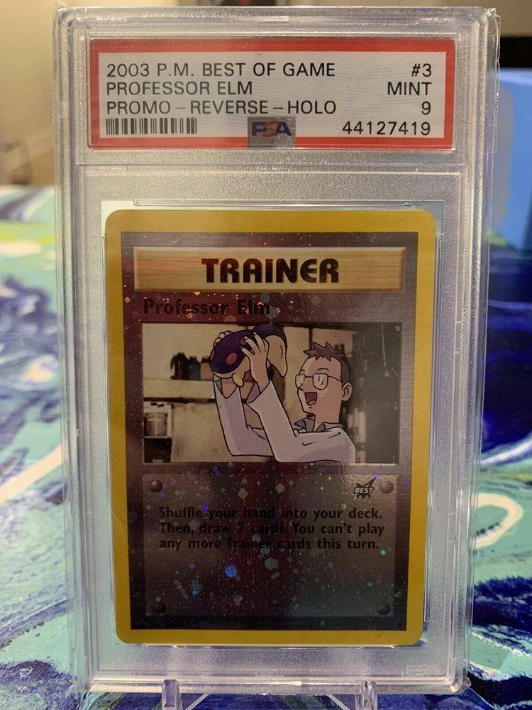 PROMO Pokemon Cards NM//M Professor Elm BEST REVERSE HOLO #3