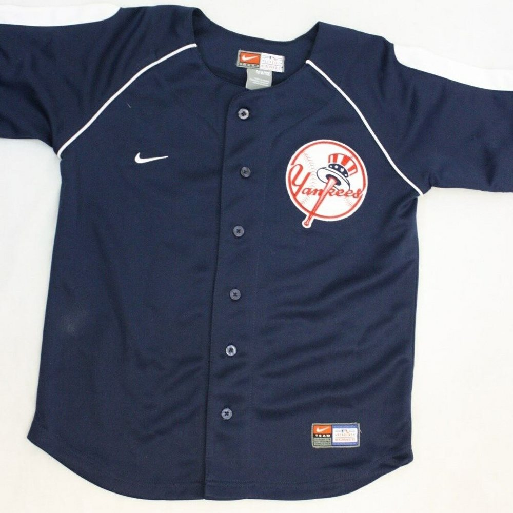 NEW Boys Kids Youth Nike New York NY Yankees Blue Stitched MLB Jersey