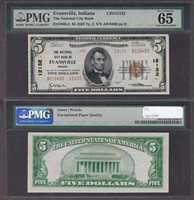 Fr#1800-2 $5 IN A016480 65EPQ The N City B of Evansville, C#12132 Great Indiana Type