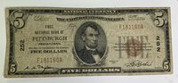 1929 $5 First National Bank & Trust At Pittsburgh,PA #252 ~