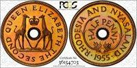 Rhodesia 1955 Nyasaland 1/2 half Penny Proof PSGC PR66 Coin Giraffe