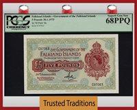 5 Pounds 1975 Falkland Islands Queen Elizabeth Ii Pcgs 68 Ppq Superb