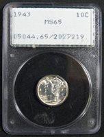 1943 Mercury Silver Dime, PCGS MS 65