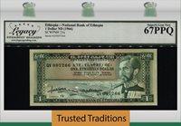 1 Dollar 1966 Ethiopia Deep Color Embossing Lcg 67 Ppq Superb Gem