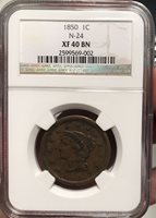 1850 Large Cent XF 40 NGC Certified N-24 Very Rare R.5