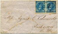 CSA 7-R, 5¢ dark blue pair on local paper