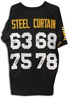 fb88bdf14b5 Steel Curtain Pittsburgh Steelers Autographed Black Jersey Signed by Joe  Greene, LC Greenwood, Ernie