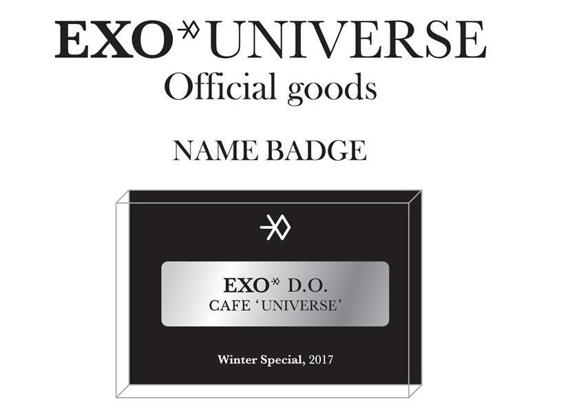 EXO WINTER SPECIAL CAFE UNIVERSE MD OFFICIAL GOODS NAME BADGE NEW