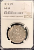 1870 Seated Half Dollar AU 55 NGC