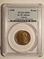 1948 French West Africa 1 Franc Essai PCGS SP64