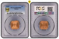 1943 Malaya One Cent PCGS MS65RD Trueview Toned Gem Only 8 Higher