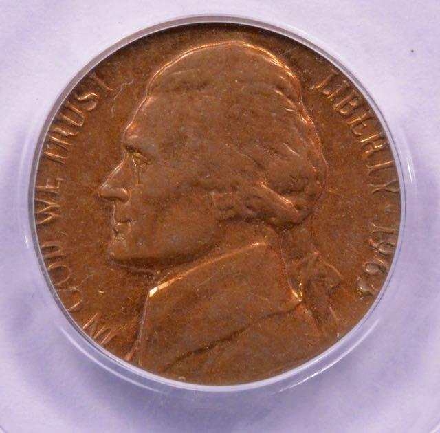 PCGS 5c 1963-D Jefferson Nickel Struck on Cent Planchet MS-63 Red/Brown