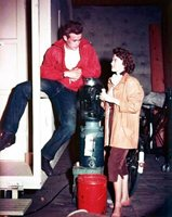 REBEL WITHOUT A CAUSE 8x10 color still on set JAMES DEAN & NATALIE WOOD -- a182