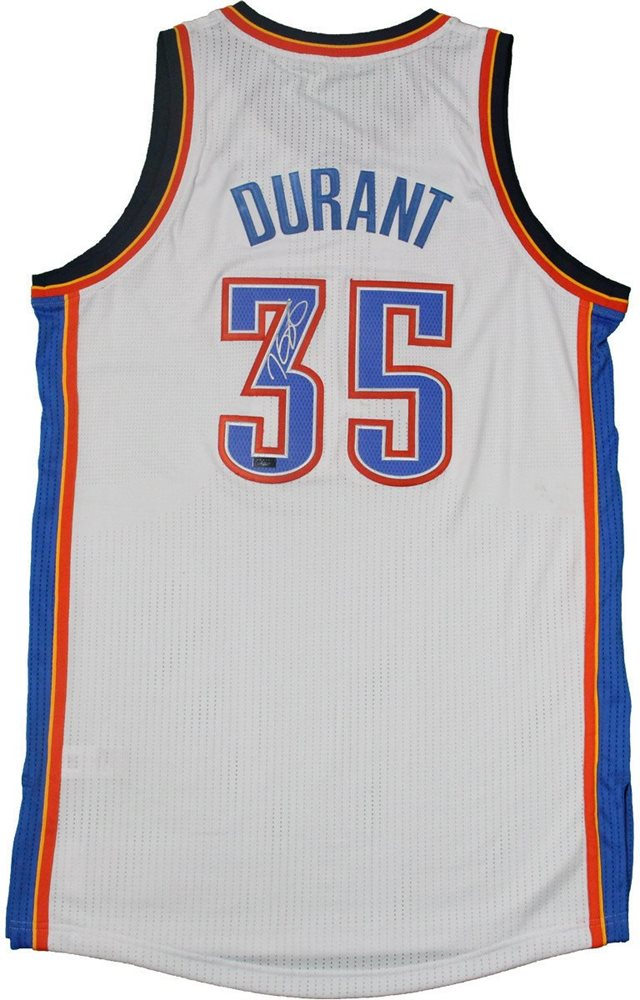 watch 4cb73 84bae Kevin Durant Signed 2014 Adidas White Authentic Jersey [3-KDAJ14]