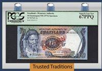 10 Emalangeni 1974 Swaziland Specimen Pcgs 67 Ppq Superb Gem New!