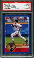 2003 TOPPS #370 CHIPPER JONES BRAVES RED TOPPS LOGO PSA 10 B2656197-404