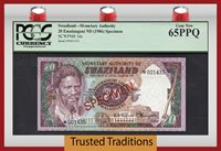20 Emalangeni 1986 Swaziland Specimen Pcgs 65 Ppq Gem New!
