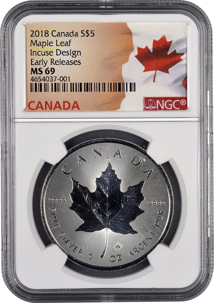 2019 $5 CANADA 1 OZ SILVER INCUSE DESIGN MAPLE LEAF NGC MS70 FIRST RELEASE RETRO