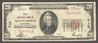 $20 1929-1 NBN MINNEAPOLIS, MN FIRST NATIONAL BANK IN MINNEAPOLIS Ch 710 VF