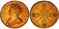 GREAT BRITAIN. England. Anne. 1705 AV Five Guineas. PCGS AU55. ANNA · DEI · - GRATIA ·. Draped bust left without VIGO below bust / MAG - BR · FRA - ET · HIB - REG ·. Crowned shields in cruciform, scepters at angles. KM-520.2; SCBC 3560; Friedberg 31