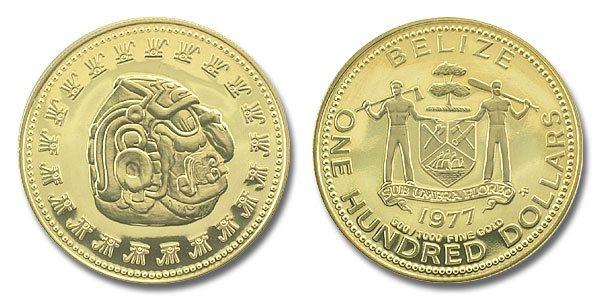 Belize 1977 Mayan Sun God 100 Dollars Gold Proof