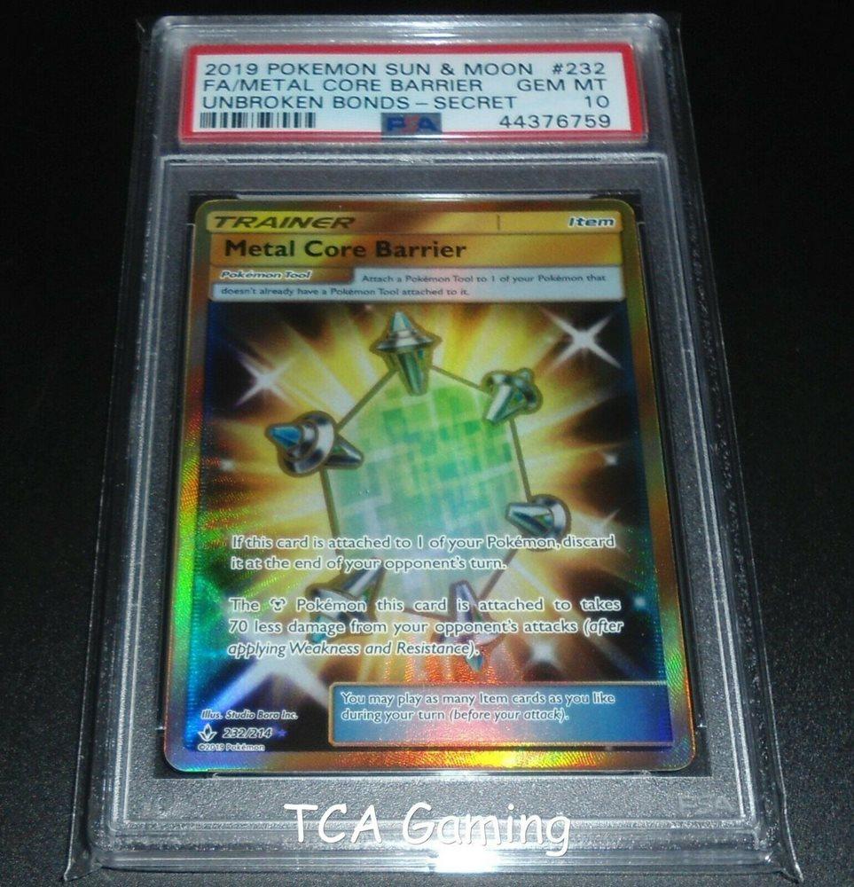 Metal Core Barrier 232//214 SM Unbroken Bonds SECRET RARE Pokemon Card NM