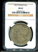 1921 Morgan $1 MS62 NGC