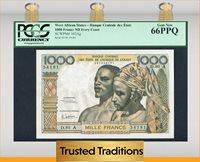 1000 Francs West African States Ivory Coast Pcgs 66 Ppq Gem New